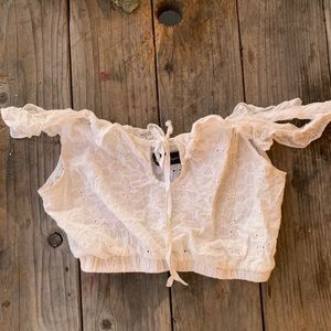 White floral lacey off the shoulder LF crop